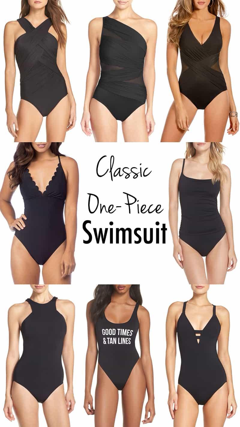 Classic BLACK ONE-PIECE SWIMWEAR swimsuit